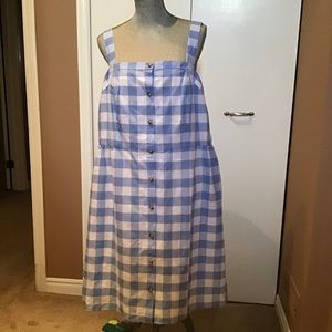 JCrew Gingham Button Front Dress - NWT